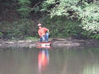 野池でバス釣り.JPG